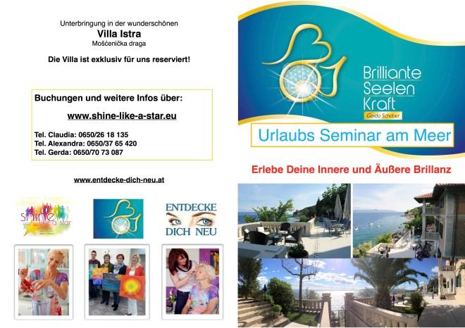Bild Flyer Urlaubsseminar Kroatien, Gerda, Sandy, Claudia 2015 - Seite 1