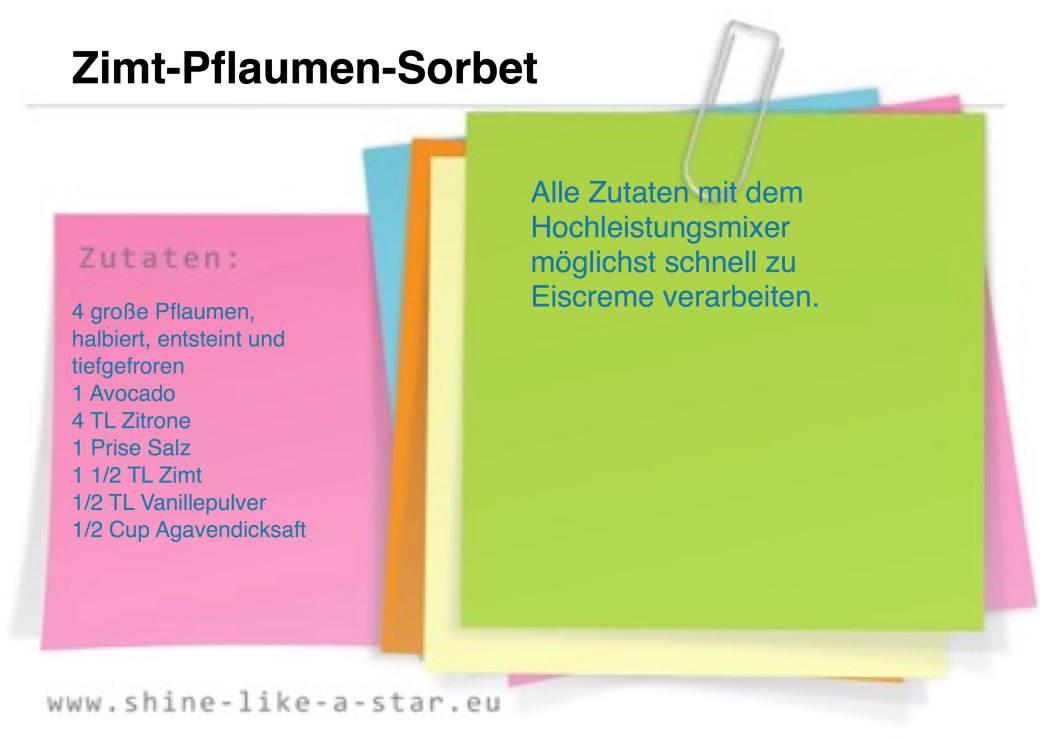 Rezeptkarte Zimt-Pflaumen-Sorbet