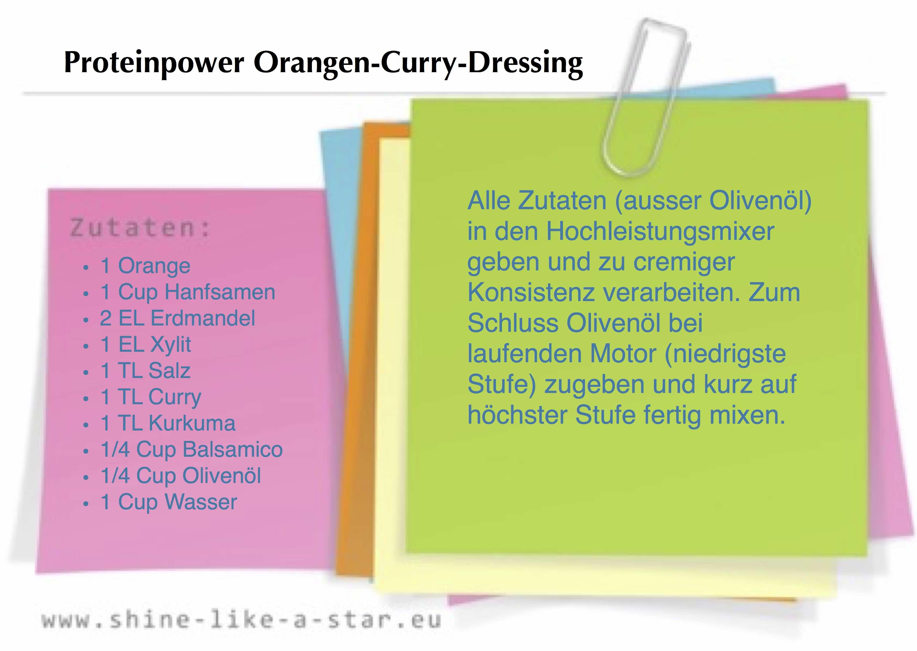 Proteinpower Orangen-Curry-Dressing