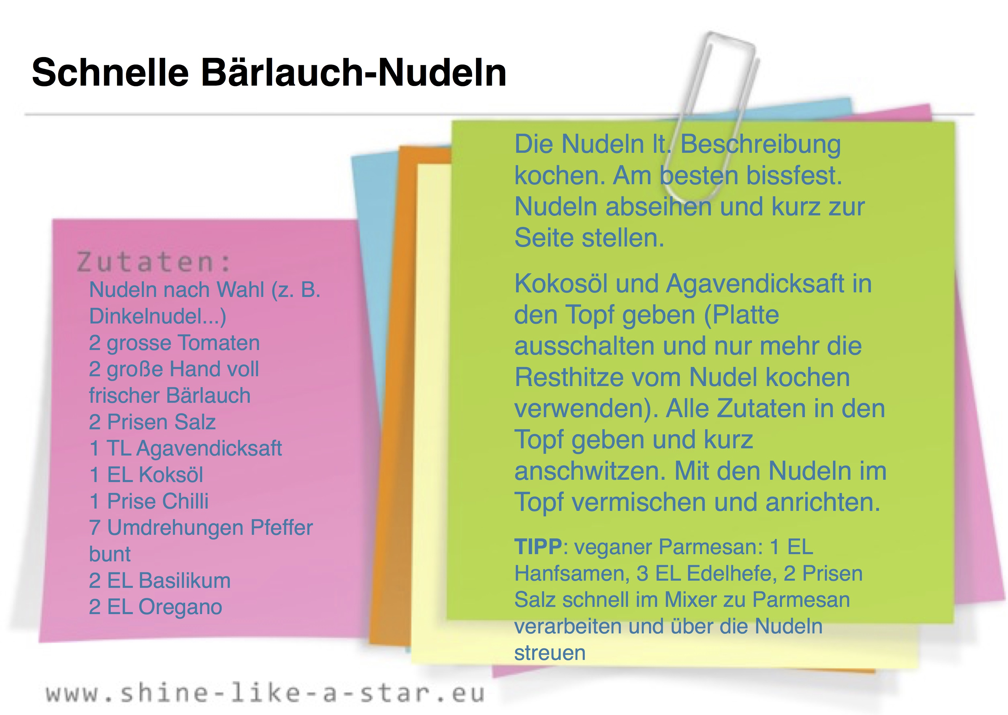 Rezeptkarte - Schnelle Bärlauch-Nudeln (halb-rohes Gericht)