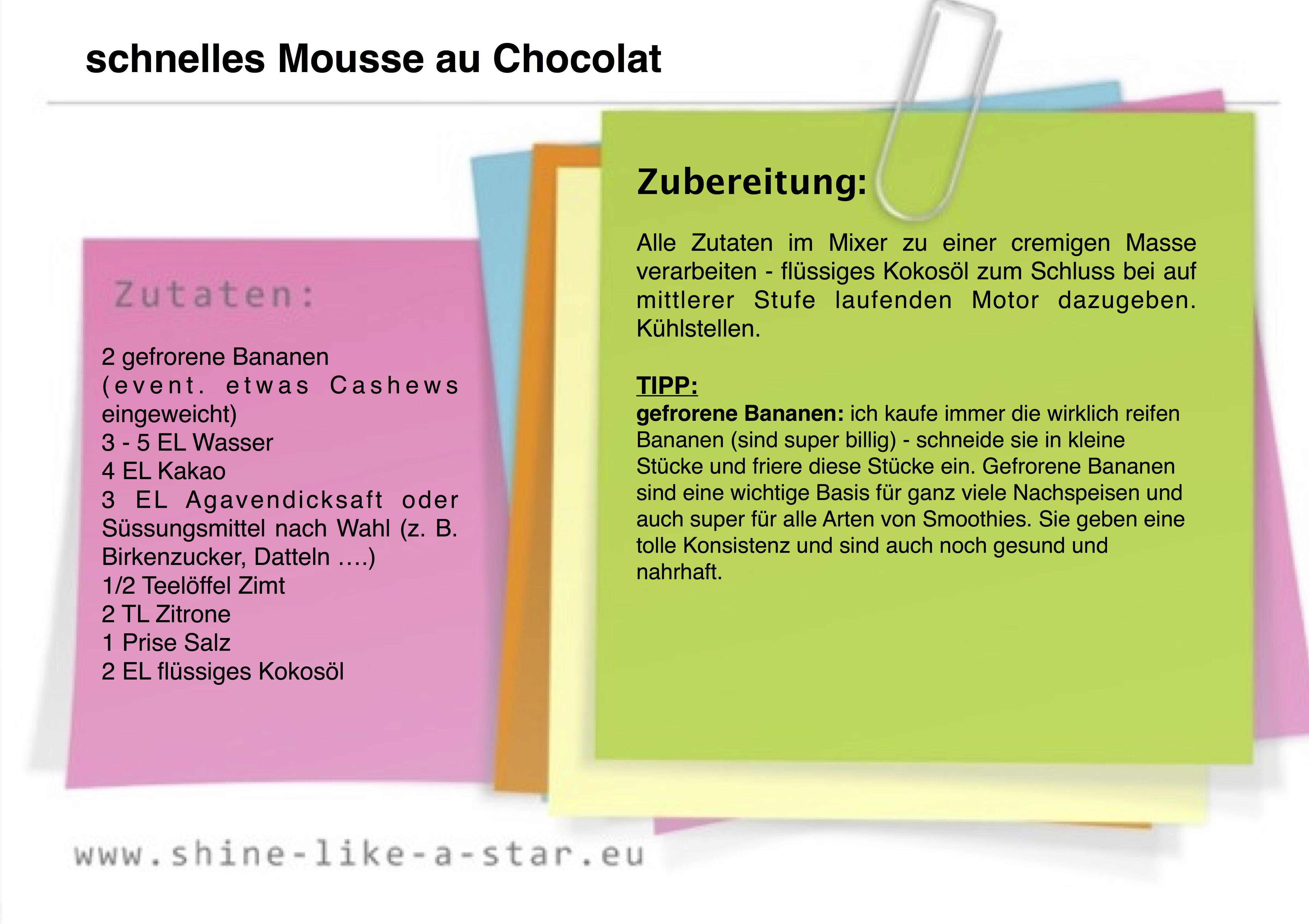 schnelles Mousse au Chocolat (Bananen)