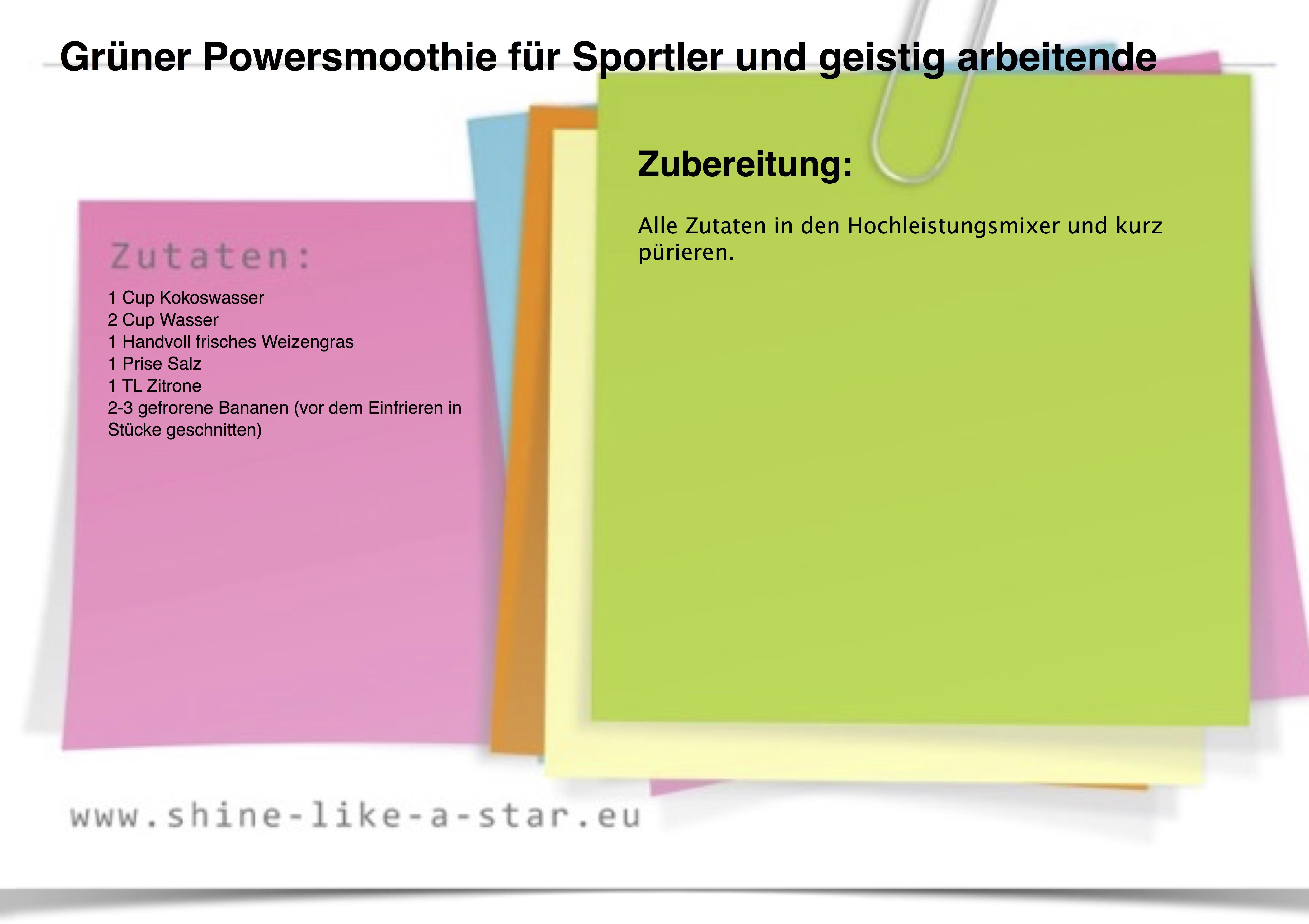 Grüner Powersmoothie für Sportler und geistig arbeitende Menschen